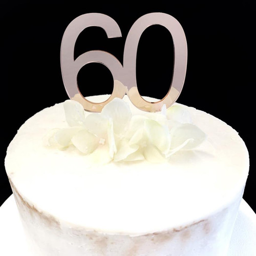 Acrylic Cake Topper '60' 7cm - ROSE GOLD