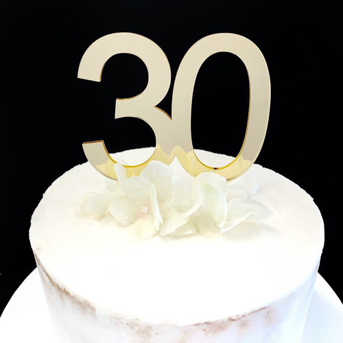 Acrylic Cake Topper '30' 8.5cm - GOLD