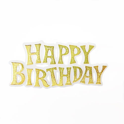 Cake Topper Plaque 'Happy Birthday' - GOLD