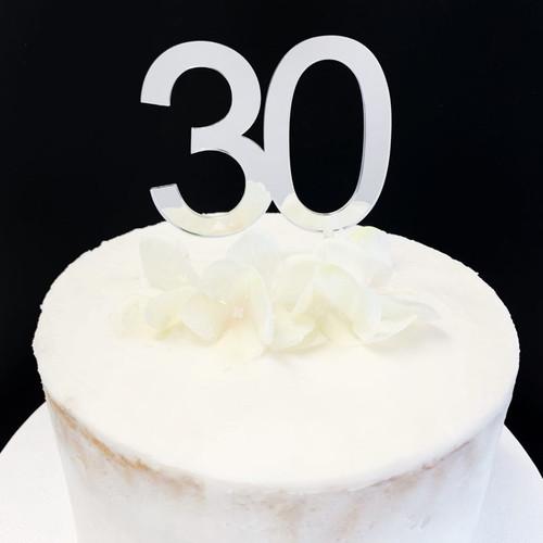 Acrylic Cake Topper  '30' 7cm - SILVER