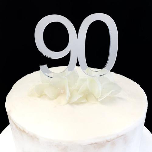 Acrylic Cake Topper '90' 7cm - SILVER