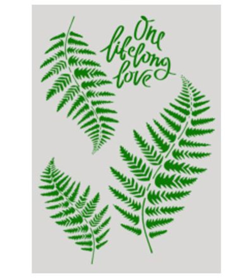 Cake Stencil - Fern Leaves & Quote