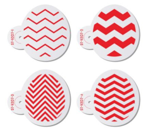 Cake Stencil - Chevron Easter Eggs 4pc