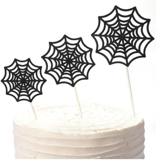 Cake Topper - Spider Web 3pc