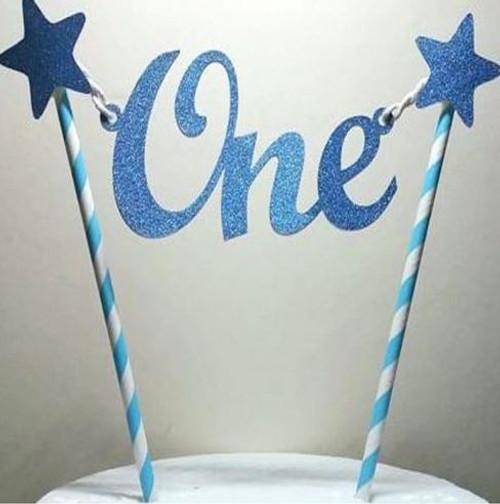 "Bunting - "" One "" Blue Glitter & Stars"