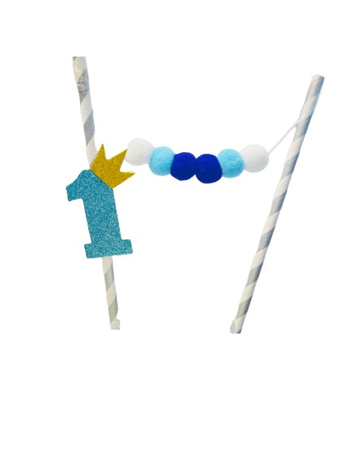 "Cake Bunting - "" 1 "" Blue Glitter & Pom Poms"