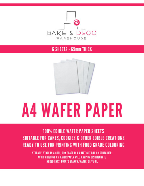 Edible Wafer Paper 6pc - A4 65MM