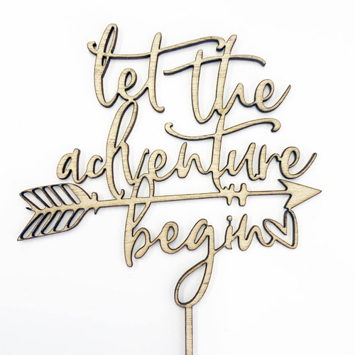 Cake Topper 'LET THE ADVENTURE BEGIN' - BAMBOO