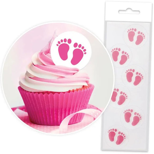 Edible Wafer Toppers - PINK BABY FEET