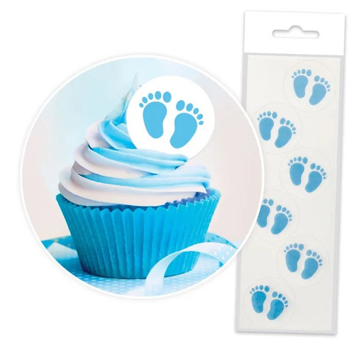 Edible Wafer Toppers - BLUE BABY FEET 24PC