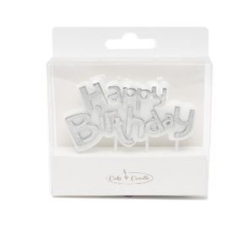 Party Candle - HAPPY BIRTHDAY PLAQUE SILVER