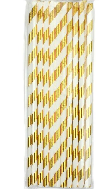 Shmick Bright Gold and White Striped Paper Straws 20pk