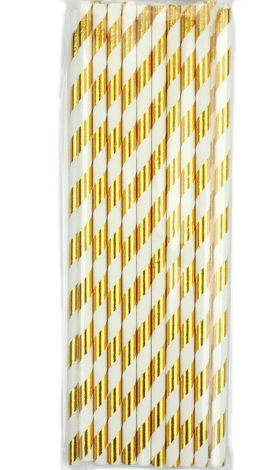 Shmick Bright Gold and White Striped Paper Straws 20pk