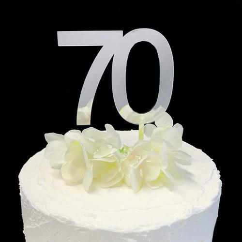 Acrylic Cake Topper '70' 8.5cm - SILVER