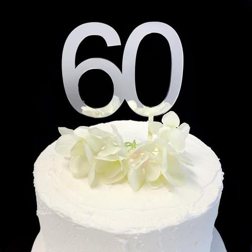 Acrylic Cake Topper '60' 8.5cm - SILVER