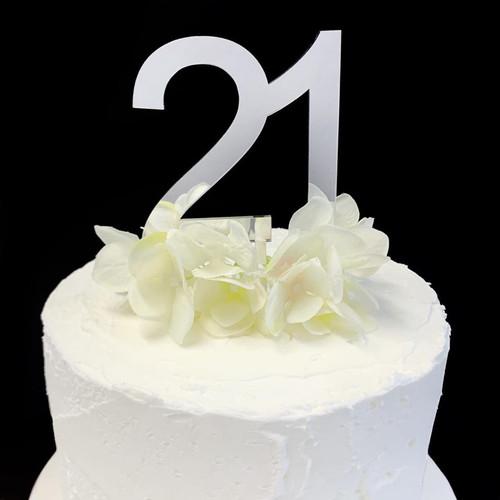 Acrylic Cake Topper '21' - 8.5cm - SILVER