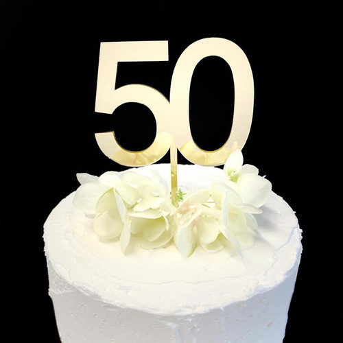 Acrylic Cake Topper '50' 8.5cm - GOLD