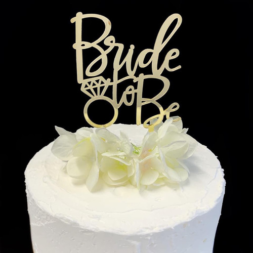 """Cake Topper """"BRIDE TO BE"""" - Gold"""