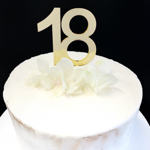 Acrylic Cake Topper '18' 8.5cm - GOLD