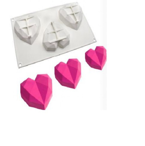 Silicone Mold - POLYGONAL HEARTS / 3 Cavity