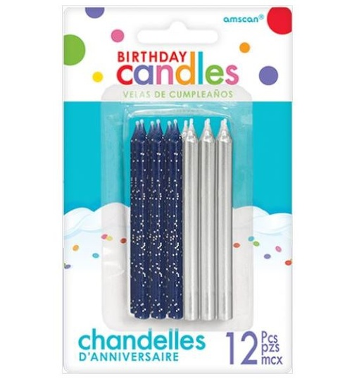 Navy Blue Glitter & Metallic Silver Candles