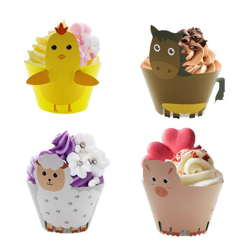 Cupcake Wrap with Tails 12pc - FARM ANIMALS