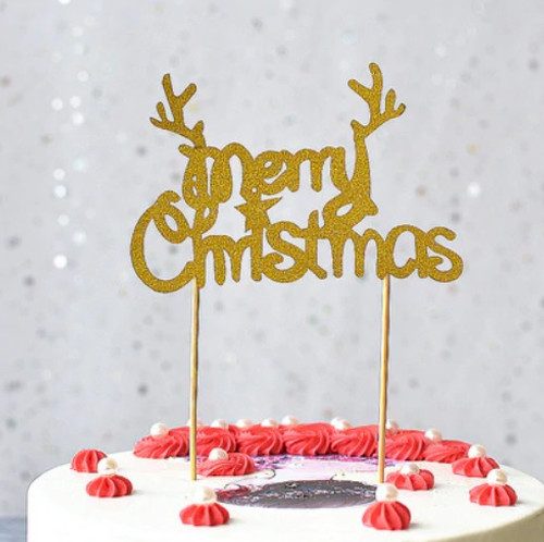 Gold Glitter Merry Christmas With Antlers