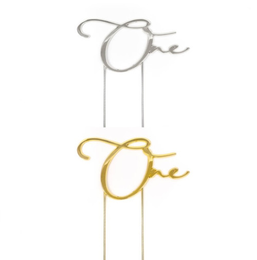 """Metal Cake Topper - """"One"""""""