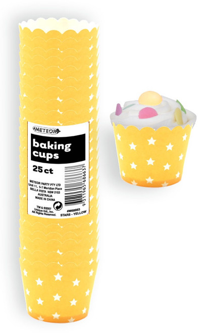 Baking Cups 25pc - STARS / SUN YELLOW