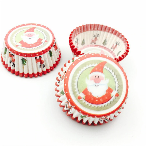 Cupcake Cases 100pc - Christmas Tree & Santa