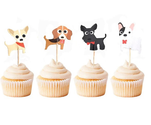 Cupcake Toppers 24pc - Cute Dogs