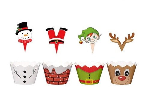 Cupcake Wrap & Toppers 12pc - Christmas Theme
