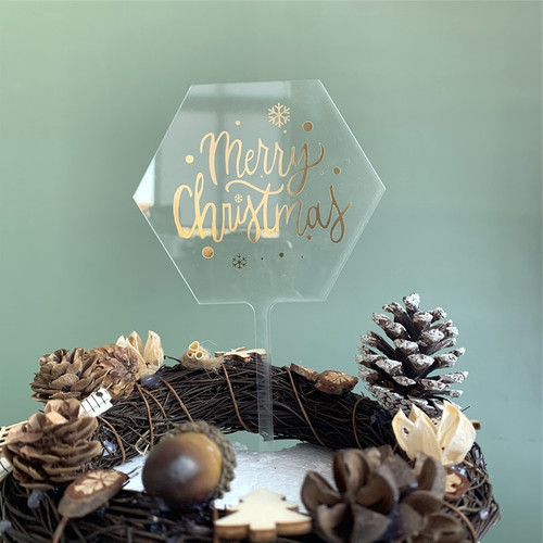 Acrylic Hexagon Merry Christmas Cake Topper