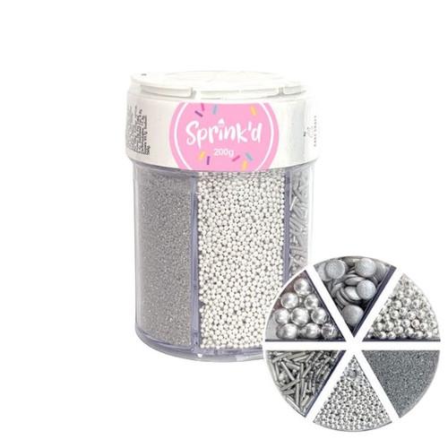 6 Variety Sprinkle Mix Silver 200G