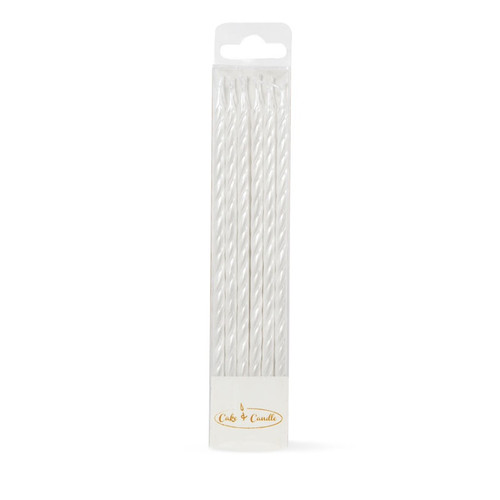 Spiral Cake Candles Pack of 12(Pealized White)