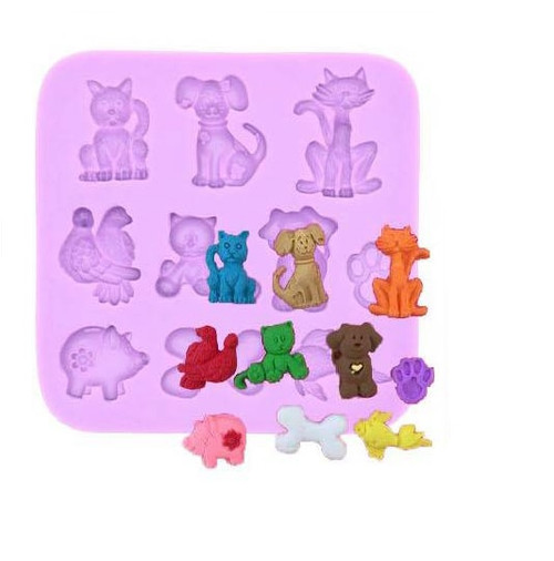 Cute Pets 10 Cavity Silicone Mold