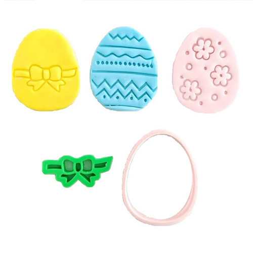 Easter Egg Cookie Cutter And Embosser Set of 3