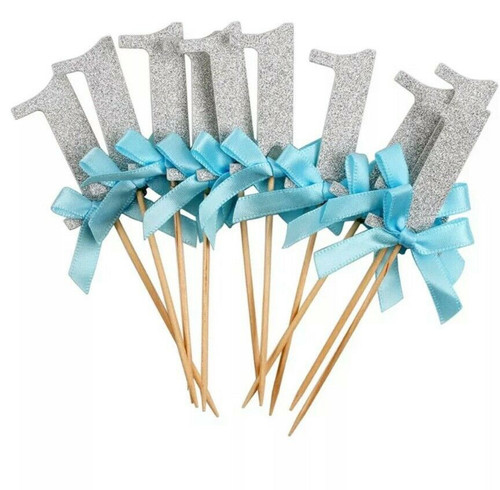 "Cupcake Toppers 10pc - Silver with Blue Bow ""1"""