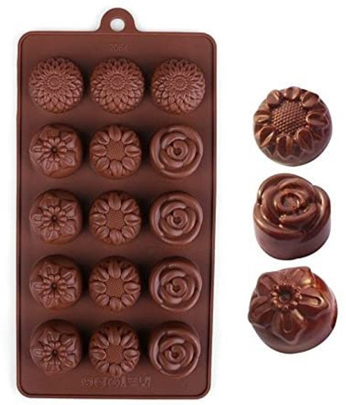 Roses & Aster & Sunflower 15 Cavity Chocolate Mold