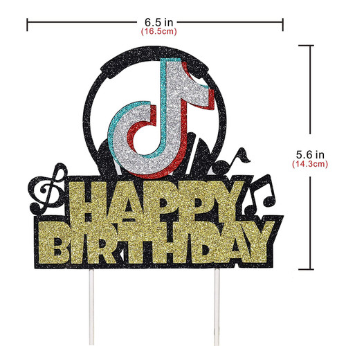 "Tiktok Theme ""Happy Birthday"" Cake Topper"