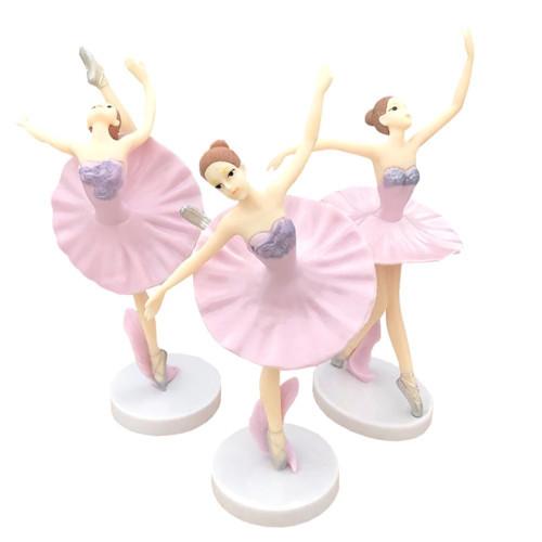 Dancing Ballerina Figurines Cake Topper 3pc set-Pink