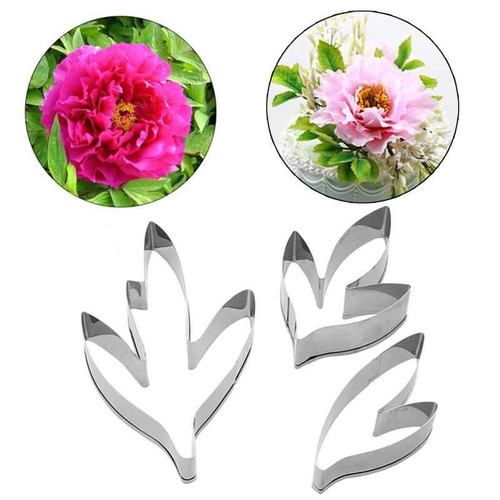 Peony Flower Leaves 3pc Cutters Set
