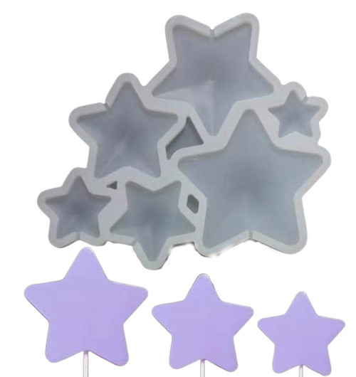 Stars Lollipop/Candy 6Cavity Silicone Mold