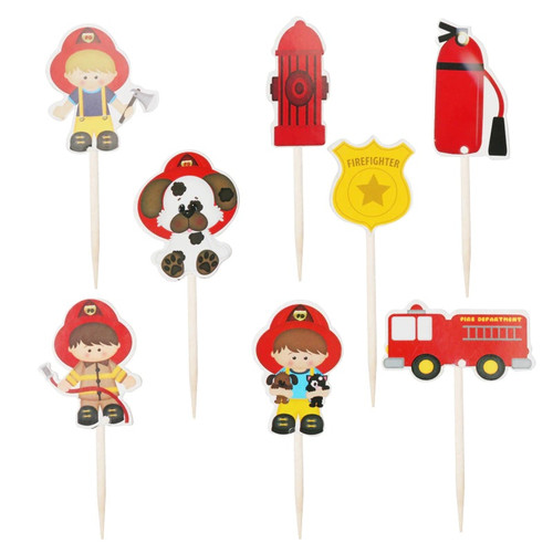 Firefighter Theme 24pc Cupcake Topper