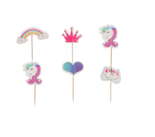 Unicorn and Rainbow 24pc Cupcake Topper
