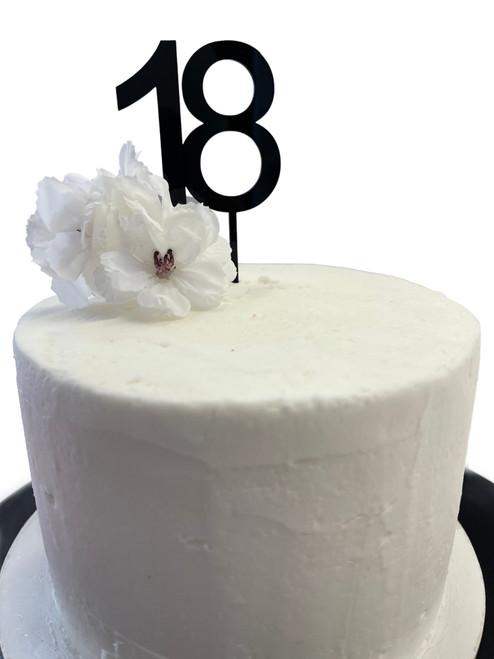 Acrylic Cake Topper '18' 7cm - BLACK
