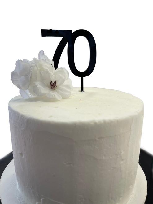 Acrylic Cake Topper '70' 7cm - BLACK
