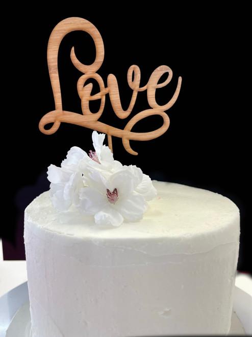 Acrylic Cake Topper 'Love' (Scrolly) - BAMBOO