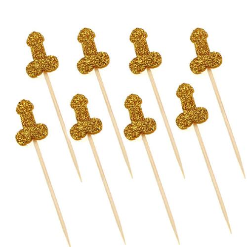 Cupcake Topper 12pc -Gold Glitter Penis