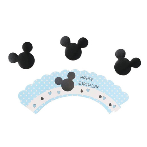 Cupcake Wrap & Toppers 12pc - Mickey Mouse